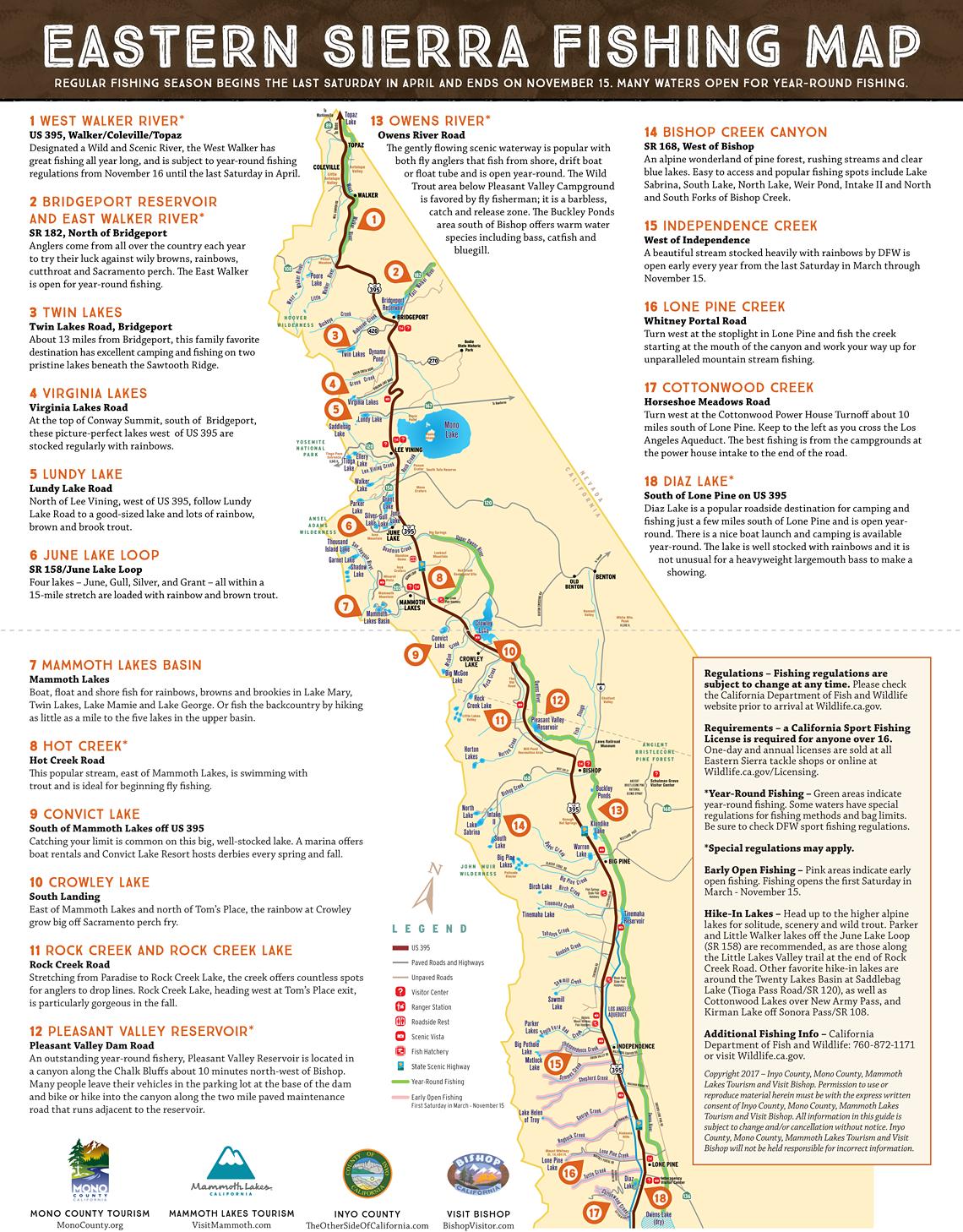 Eastern Sierra Fishing Map - Scenic 395